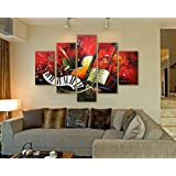 Hand-painted Artwork the Music Score High Q. Wall Art Decor Landscape Oil Painting on Canvas 5pcs/set Ready to Hang Framed