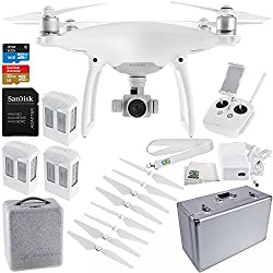 DJI Phantom 4 Quadcopter Drone w/ Manufacturer Accessories + 2 Extra DJI Intelligent Flight Batteries + SanDisk Extreme 32GB microSDHC Memory Card + Aluminum Hard-Shell Case + MORE