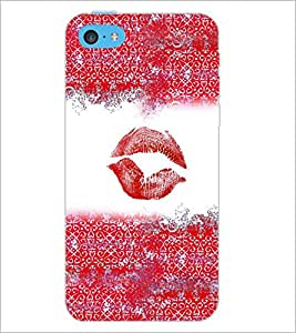 PrintDhaba Lips Impression D-4037 Back Case Cover for APPLE IPHONE 5C (Multi-Coloured)