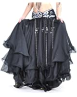 BellyLady Belly Dance Tribal Chiffon Tiered Maxi Skirt, Valentine's Gift Idea