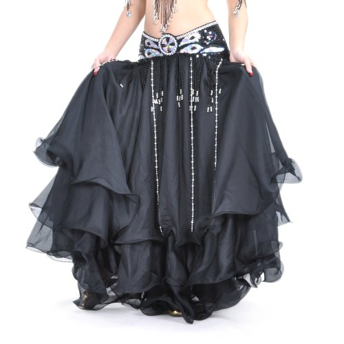BELLYLADY Belly Dance Hip Scarf, Professional Trial Belly Dancing Belt BLACK