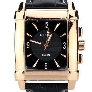 Orkina Elegant Rectangular Rose Gold Case White Dial Quartz Leather Strap Wri...
