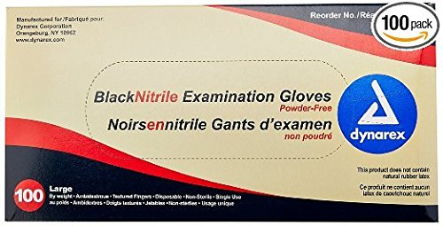 Dynarex 2523 Nitrile Exam Gloves, Large, Black (Pack of 1000) (Black Latex Gloves 1000 compare prices)