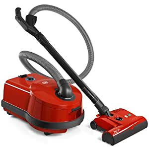 Sebo Airbelt D4 Red Canister Vacuum Cleaner with ET-1 Powerhead and Bare Floor Brush