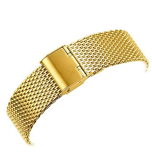 YISUYA Milanese rete, 20 mm, in acciaio INOX, con gancio e fibbia dorata con orologio 2 cm