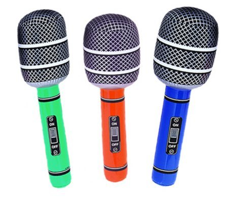 1 X Inflatable Neon Colour Large Microphone Decoration - 30 Inch