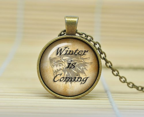 SunShine Day Winter Is Coming Game Of Thrones Jewelry Direwolf Fire And Ice Necklace Glass Cabochon Necklace A3660