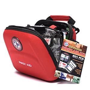 OUTDOOR FIRST AID KIT 201 PC FOR CAMPING, BOATING, FISHING, HUNTING by Total Resources