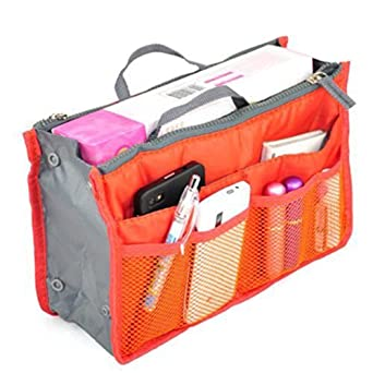 Makeup Insert Handbag Organiser Insert Organizer Tidy Travel Cosmetic Pocket (orange)
