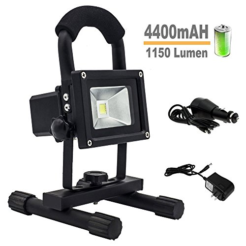 WT 10W Rechargeable Portable LED Work Lights,1150 Lumen, 4400mAH, Adapter and Car Charger Included, IP65 Waterproof, Security Lights, Outdoor Floodlight For Camping Fishing Traveling(Black)