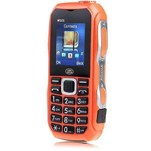 Padgene Outdoor SOS Handy Große Tasten Mobiltelefon Super Lang Standbyzeit Ohne Vertrag Blockhandy für Alter Senior mit Taschenlampe Kamera (DUOS-Orange)