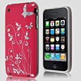 ZAFOORAH® - BUTTERFLY FLOWER GARDEN Hybrid Designer Case Cover Fits iPhone 3 3G S 3GS 8GB 16GB 32GB including Free Screen Protector (Hot Pink and Silver)