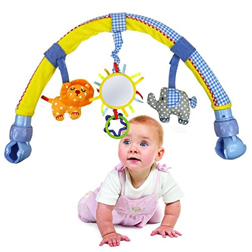 buy Olsine Baby Travel Arch Stroller/Crib Accessory,Soft Plush Elephant Toy and Pram Activity Bar with Rattle/Squeak/Mirror(Blue&Yellow) for sale