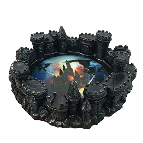 Fire-breathing Dragon Burning Medieval Castle Ashtray By DWK | Decorative Ash Bins Home And Outdoor Decor