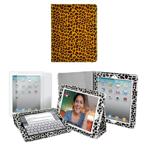 Apple iPad 2 Premium Animal Print Leatherette Stand Case (Tawny Leopard), Free Earphone, and Screen Protector