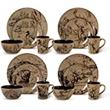 Mossy Oak 16-Piece Break up Infinity Dinnerware Set, Beige