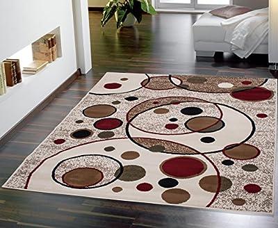 Beige Color Modern Circles Design Area Rug