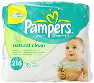 Pampers Natural Clean Wipes 3x Refill 216 Count