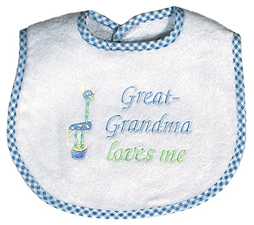 Raindrops Great-Grandma Loves Me Embroidered Bib, Blue