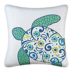 Imperial Coast Square Meridian Sea Turtle Pillow by C & F