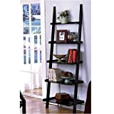 "Unique 72"" High LEANING LADDER STYLE MAGAZINE / BOOK SHELF on Black Finish"