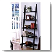 72-Inch High Black Wood Leaning Bookcase