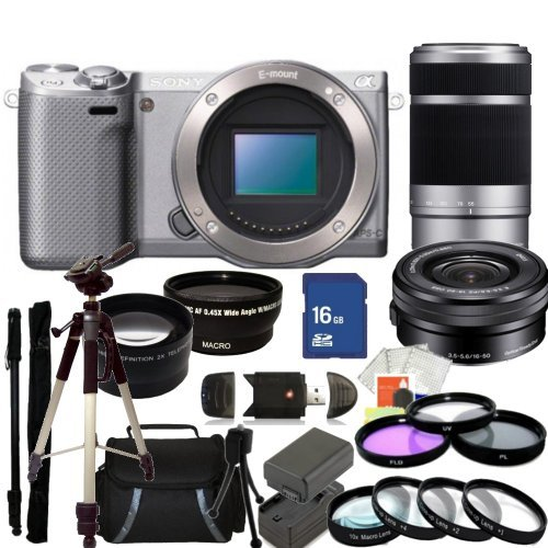 Sony NEX-5RK/S 16.1 MP Compact Interchangeable Lens Digital Camera (Silver) with 16-50mm and 55-210mm Lenses. Also Includes: 0.43X Wide Angle Lens, 2.2X Telephoto Lens, 3 Piece Filter Kit (UV-CPL-FLD), 4 Piece Macro Filter Set (+1,+2,+4,+10), 16GB Memory Card, Tripod, Monopod & More