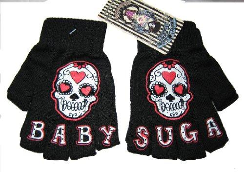 Punk Rock Sugar Skull Fingerless Gloves