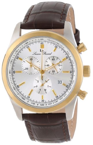 Lucien Piccard Men's LP-11570-02S-GB Eiger Chronograph Silver Dial Brown Leather Watch