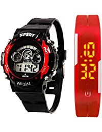 A BEAUTIFU COMBO PACK OF 2 7LIGHT RED & RED LED WATCHES RED COLOUR WITH EXTRA STYLE (Mfgn_1043_Free)