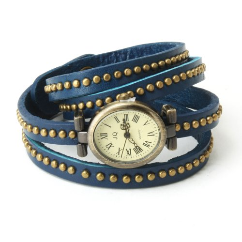 Yesurprise Weave Genuine Leather Women Retro Long Strap Roman Dial Mosaic Rivets Wrist Watch Blue