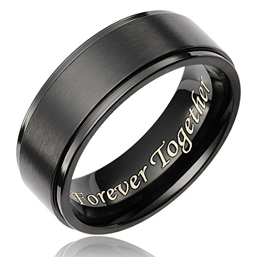 Cavalier Jewelers 8MM Men's Black Titanium Ring Wedding Band Engraved