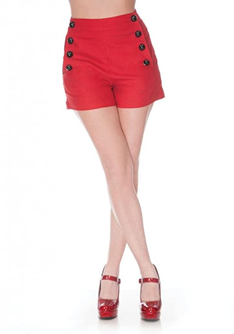 1950s Shorts Super Stretch Shorts With Front Button Detail Red                               $32.99 AT vintagedancer.com