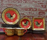 Tuscany French Modern Rooster, Hand Painted Kitchen, 16pc Dinneware Set, 85016 by ACK