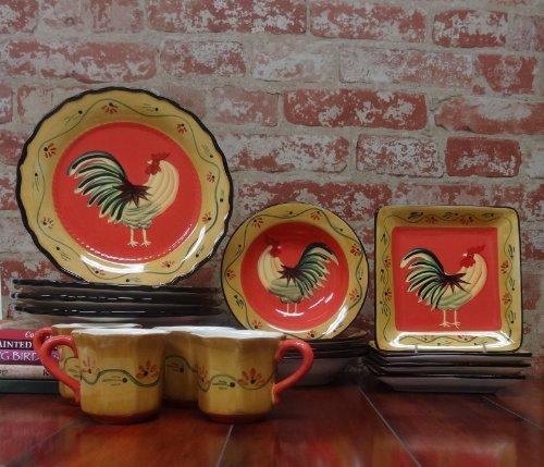 Rooster 16 Piece Dinnerware Set (Chicken Dinnerware compare prices)