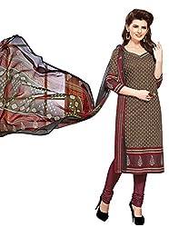 PADMiNi Ethnicwear Women's Dress Material Brown 1012