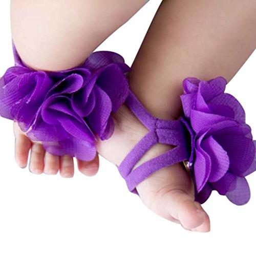 Bestpriceam 0-12 Month Baby Toddler Infant Girls Flower Barefoot Sandals Shoes (Purple)