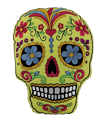 Yellow and Hot Pink Day of Dead Embroidered Sugar Skull Accent Pillow