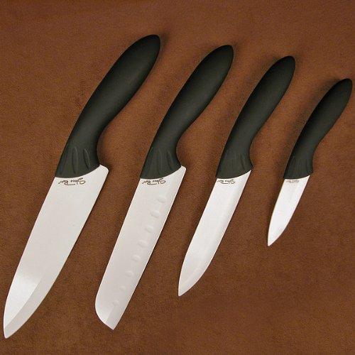 Stone River 4 - Pc. Ceramic Knife Set, Blk Blade