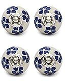 Knobs & Hooks FBK-153 Ceramic Cabinet Knob; White+Blue; (Set of 4 pieces)