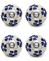 Knobs & Hooks FBK-153 Ceramic Cabinet Knob; White+Blue; (Set of 4 pieces)