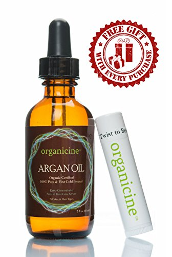 Organicine Virgin Argan Oil 100% Pure & Organic (FREE Lip Balm Chapstick as a GIFT) Natural Treatment for Hair, Face, Nails, Skin, Body - Premium Care Product USDA Certified, Cold pressed Argon from Morocco, great moisturizer - Buy Risk Free + Get FREE E-book as a GIFT (Price is for 1 bottle only) (Omega Shine Hair Elixir compare prices)