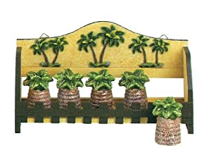 Palm Tree 5pc Spice Jar W Wood Rack Holder