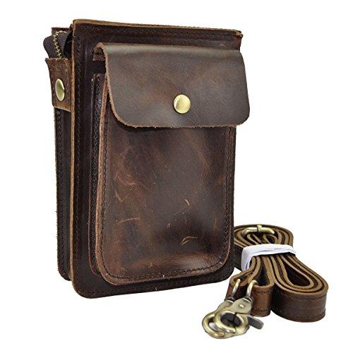 Le'aokuu Mens Genuine Leather Fanny Messenger Shoulder Satchel Waist Bag Pack (Dark Brown) (Leather Man Bag)