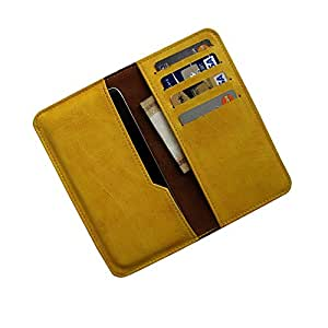 i-KitPit : PU Leather Wallet Flip Pouch Case For Micromax Canvas Win W121 (YELLOW)