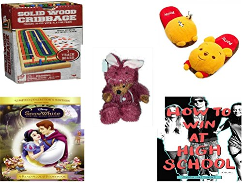 [Girl's Gift Bundle - Ages 6-12 [5 Piece] - Solid Wood Folding Cribbage Set Game - Disney Store Winnie The Pooh Slippers - Teddy Bear Plush In Purple Mouse Costume 12