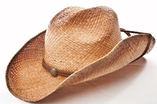 Western Hat///Tea Stain Raffia Solid Top with Disk and Rope/// Bend me Shape Me!!!