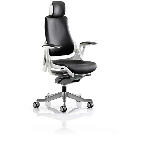 Dinámico kc0166zure piel silla de oficina con reposabrazos y reposacabezas, color negro