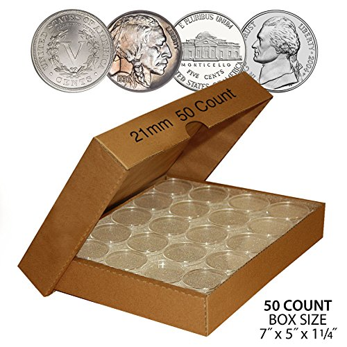50-NICKEL-Direct-Fit-Airtight-21mm-Coin-Capsule-Holder-NICKELS-QTY-50-w-BOX