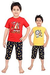Punkster Red And Yellow Graphic Print Nightwear Combo For Baby Boys